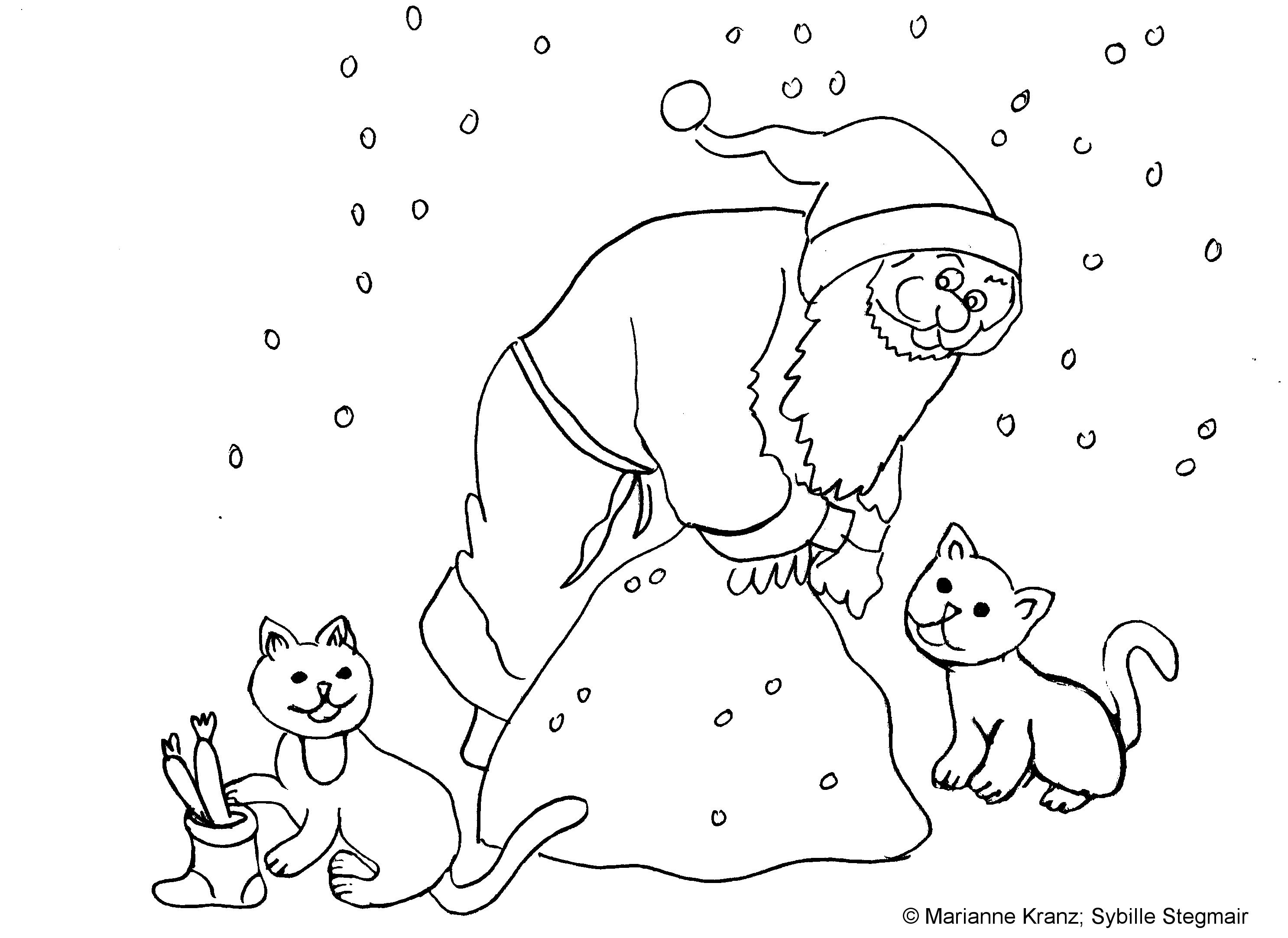 Ausmalbild Nikolaus – Mika und Kleo